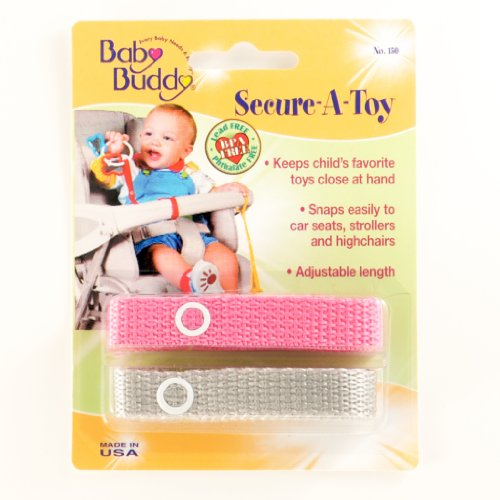 Baby Buddy Secure-A-Toy, Safety Strap Secures Toys, Teether, or Pacifiers to Strollers, Highchairs, Car Seats-Adjustable Length to Keep Toys Sanitary Clean Pink-Gray 2 Count