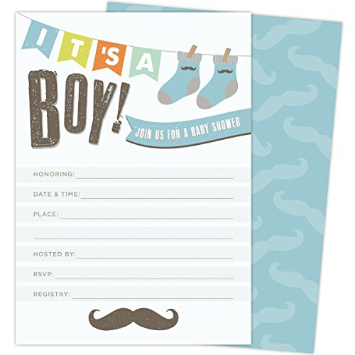 It's a Boy! Baby Shower Invitations with Mustache and Socks. 25 Fill in The Blank Cards with Envelopes. Light Blue and Brown with Festive Multi-Color Banner (Blue And Brown Baby Shower Invitations)