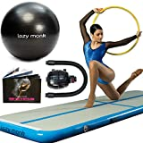 Lazy Monk Air Track Tumbling Mat Airtrack | Best Gymnastics Inflatable Tumble Track Floor | Airtracks with Electric Pump + Exercise Ball [ 9.1 ft Long x 2.1 ft Wide x 4 in Thick ]