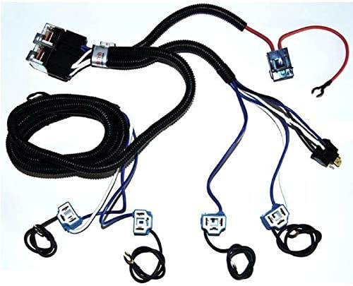 Amazon Com Octane Lighting 4 Headlight Relay Wiring Harness H4 Headlamp Light Bulb Ceramic Socket Plugs Set Automotive