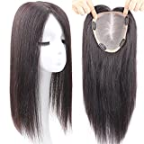 Remeehi 6''x6.7'' Hand Made Top Hairpieces for Women Real Human Hair Clips in Toppers (16'' Reddish Brown)