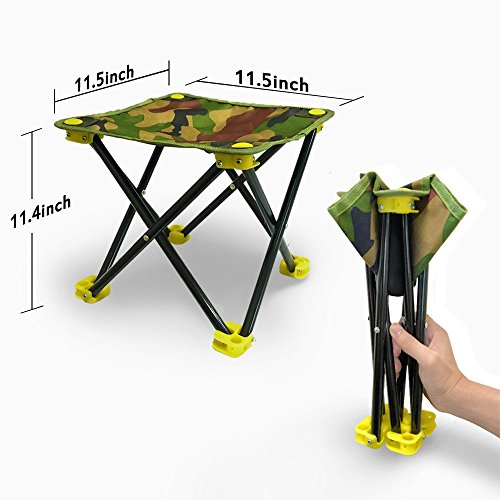 Folding Stool - S-World Kee  Mini Chair for Outdoor Camping,Fishing,Travel,Hiking,Garden,Beach,600D Oxford Cloth with Carry Bag,11.5x11.5x11.5(Camouflage)
