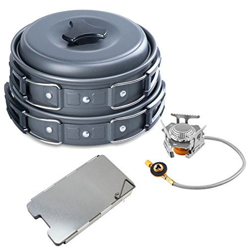 Camp Stove, Petforu Camping Cookware Mess Kit Outdoor Non-Stick Pots and Pans Sets & Foldable Windshield & Portable Picnic Gas Stove