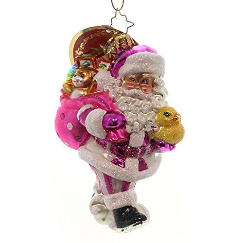 Christopher Radko Toyland Deliveries Girl Baby and Santa Christmas Ornament - Delivery Santa Christmas Tree Ornament