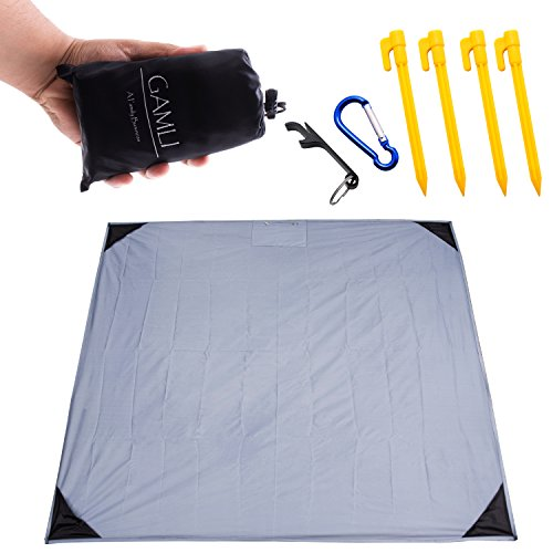 Pocket Blanket for Beach Festival - Camping Hiking Compact Size 55'x60' Fit 4 People Sand and Waterproof Puncture Resistance with Corner Pocket, Loops, 4 Stakes, Double Zipper Secure Pocket (Black) by GAMLI A Family Business