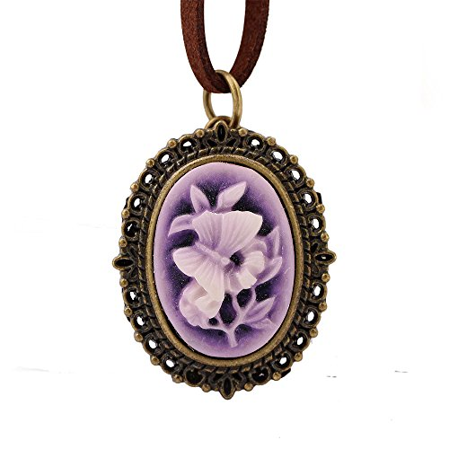 ce Vintage Embossed Pocket Watch Necklace Purple Flower Cover for Lady Ornaments (Flush Amber Mist)