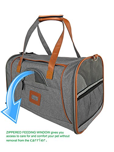 Playay Premium Airline Approved Soft Sided Pet Carrier, Low Profile Luxury Travel Bag with Fleece Bedding & Safety Lock, Under Seat Compatibility, Perfect for Cats and Small Dogs