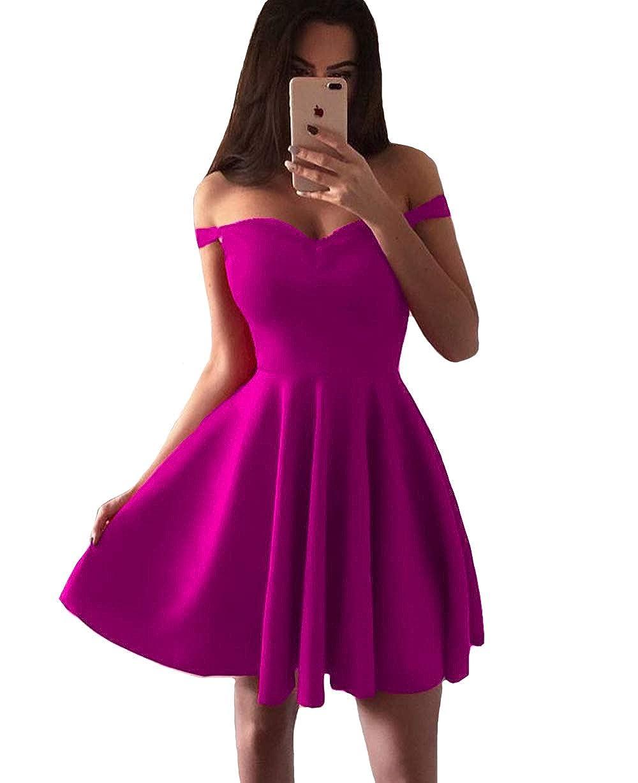 Fuchsia IVYPRECIOUS Women's Off The Shoulder A Line Short Homecoming Dresses Satin