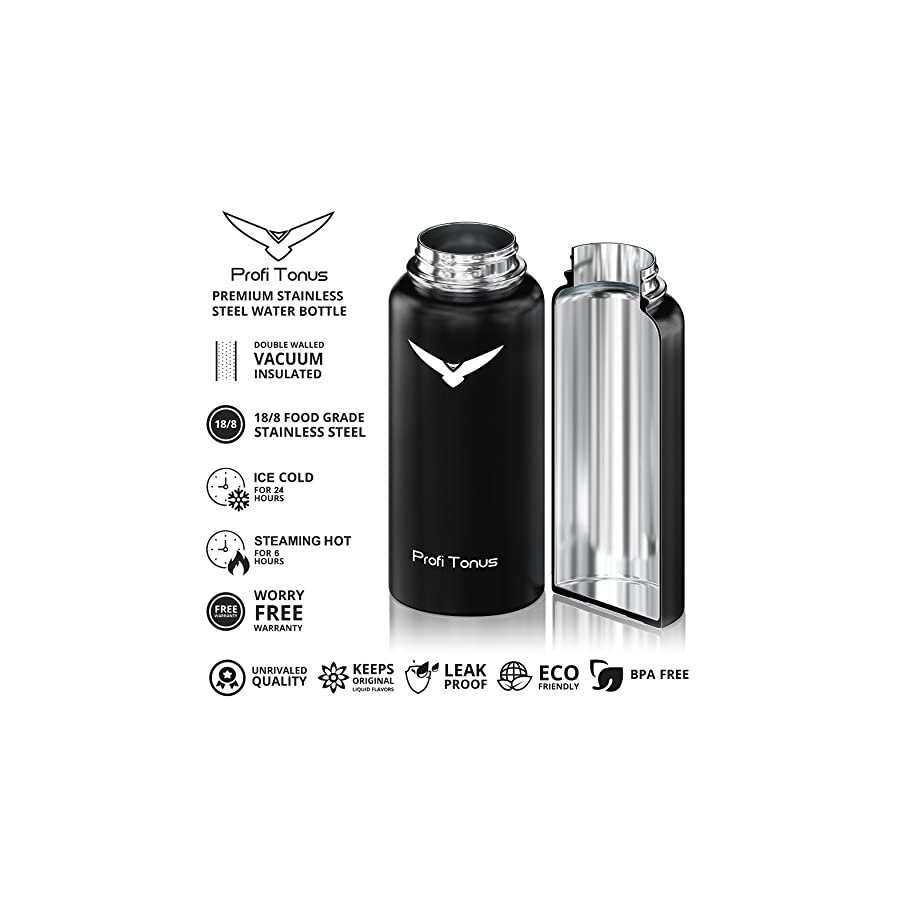 Insulated Water Bottle, PROFI TONUS 32 Oz Double Walled Wide Mouth Stainless Steel Water Bottle, Vacuum Hydro Sports Flask BPA Free Metal Water Bottle with Straw and Flip Lids for Hot Cold [Black]