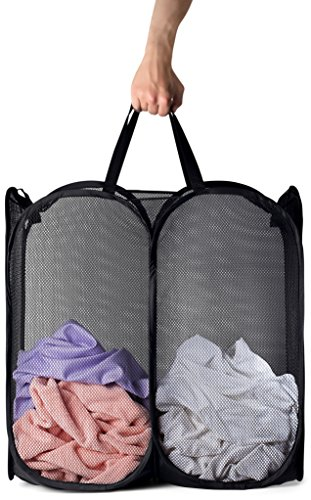 Mesh Popup Laundry Hamper - Portable, Durable Handles, Collapsible for Storage and Easy to Open. Folding Pop-Up Clothes Hampers Are Great for the Kids Room, College Dorm or Travel. (Black) by Handy Laundry (Image #6)