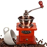 Raza New Arrvial Cafetera Coffee Mill Wooden And Metal Design Retro Mini Manual Coffee Grinder Hand Handmade Bean Conical Burr