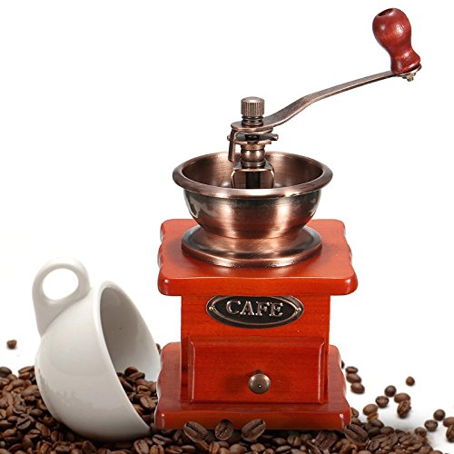Raza New Arrvial Cafetera Coffee Mill Wooden And Metal Design Retro Mini Manual Coffee Grinder Hand Handmade Bean Conical Burr by Raza