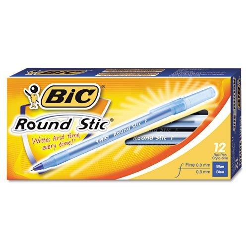 BIC GSF11BE Round Stic Xtra Precision Ballpoint Pen, Blue Ink.8mm, Fine, Dozen