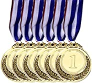 Aktudy Gold Silver Bronze Award Medals with Neck Ribbon, Olympic Style, Winner Reward Encourage Badge Competit
