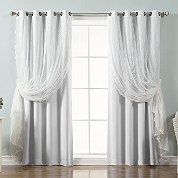 Best Home Fashion Mix & Match Dotted Tulle Lace & Solid Blackout Curtain Set - Antique Bronze Grommet Top (52