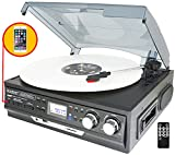 Boytone BT-17DJB-C 8-in 1 Turntable 3-Speed Stereo, 2 built in Speakers Digital LCD Display AM/FM Radio + Supports USB/SD/AUX+ MP3, Cassette & WMA Playback /Recorder & Headphon (Certified Refurbished)