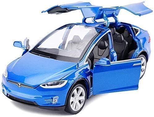 IAIZI モデルカーカーモデルカーは、スケールモデル1時32テスラモデルX音と光のプル戻るおもちゃの車のモデルをダイカスト