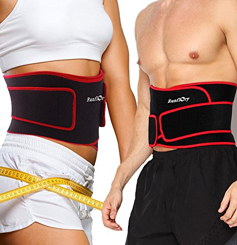 Runflory Waist Trimmer Belt Support Brace, Adjustable Lower Back Lumbar Support Straps - Weight Loss Ab Belt, Breathable Stomach Wrap Waist Trainer Cincher Girdle for Men & Women - Red & Black (Moves Yoga Weight Loss For)