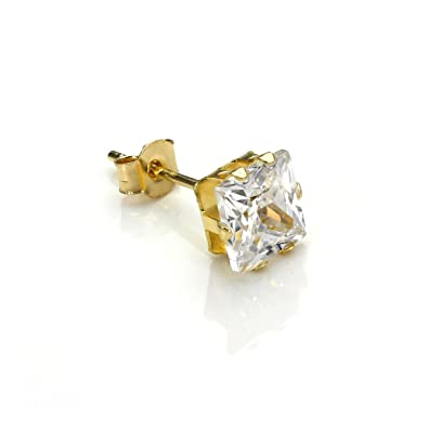 c13b8e4807e8f 9ct Gold 5mm Clear Square CZ Crystal Single Ear Stud/Mens Earrings/Studs