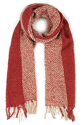- Triple Stripe Nubby Rustic Weave Baby Alpaca & Silk Boucle Scarf - Unisex (Ivory/Brick / Ecru)