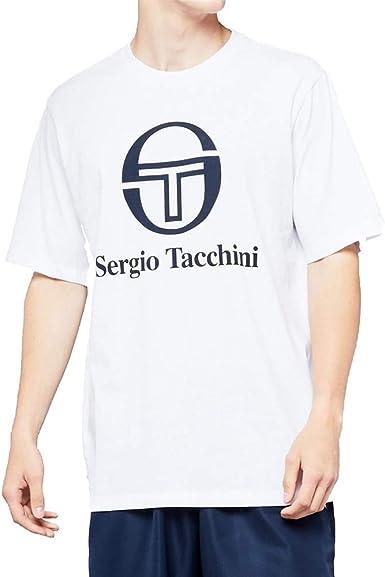 short sleeve crew tee Sergio Tacchini Iberis Logo T-Shirt in Navy /& White