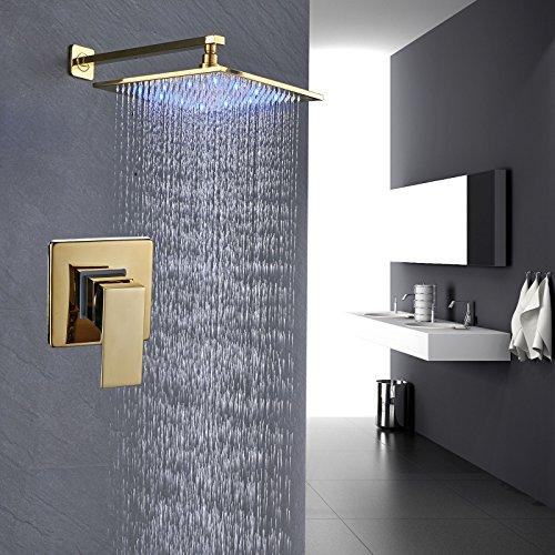 Rozin Bathroom LED Llight 12-inch Rainfall Shower Head with One-way Mixer Kit Gold (Gold Showerhead System)