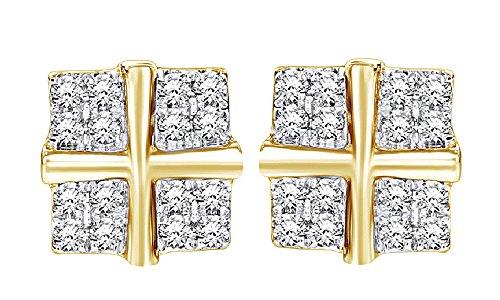 14K Solid Gold Round Cut White Genuine Diamond Hip Hop Stud Earrings (0.35 Cttw) by wishrocks