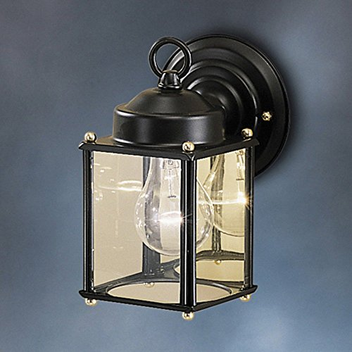 New Street Outdoor Sconce - Kichler Lighting 9611BK New Street - One Light Outdoor Wall Bracket, Black Finish with Clear Glass