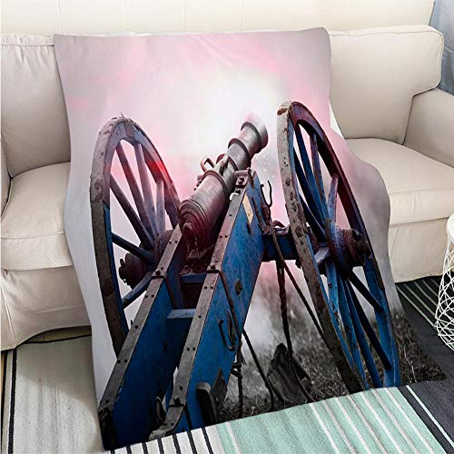 Creative Flannel Printed Blanket for Warm Bedroom Firing Historic Cannon and Smoke of The Battlefield Perfect for Couch Sofa or Bed Cool Quilt