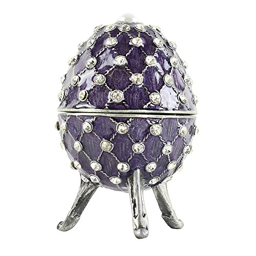 JewelryNanny Purple Egg Trinket Box with Simulated Pearl and Crystals