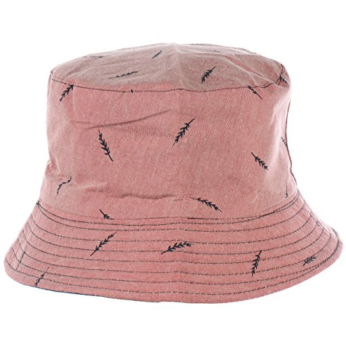 (BYOS Fashion Packable Reversible Black Printed Fisherman Bucket Sun Hat, Many Patterns (Leafy Washed Rusty Red) )