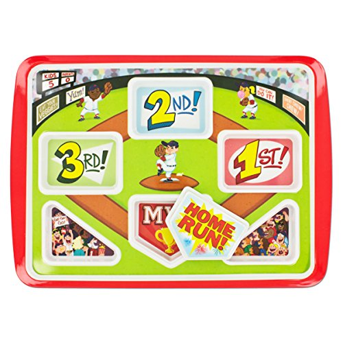 Fun Kids Dinner Plate Home Run Baseball Themed | Your Kids Will Eat Better | Be A Winner & Hit A Home Run At Breakfast Lunch & Dinner. Promotes Healthy -