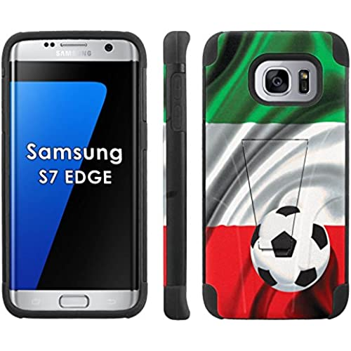 Samsung Galaxy S7 Edge /GS7 EDGE Phone Cover, Italy Flag with Soccer Ball - Black Armor Kick Flip Grip Phone Case for Samsung Galaxy S7 Edge /GS7 EDGE Sales