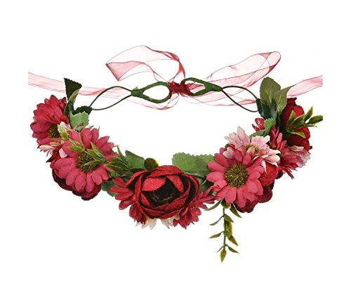 DDazzling Women Flower Headband Wreath Crown Floral Wedding Garland Wedding Festivals Photo Props (!Red)]()