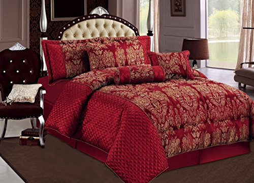 Damask 7 Piece (Luxury 7 Piece Jacquard, Damask Comforter set with matching cushion cover (Maroon, Double))