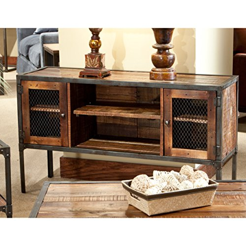 Emerald Home Laramie Medium Brown Sofa Table with Solid Wood Top, Two Cabinets, And Open Center Shelving