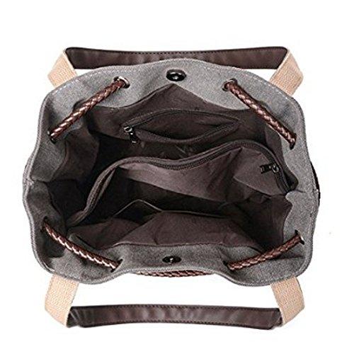Bolso mujer Marrón Negro xiaohu 30×29×12CM para hombro Negro al aWRxxUdHnq