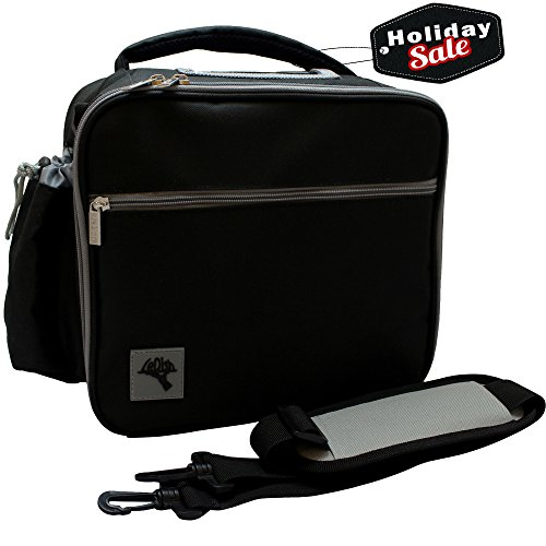 Large Insulated Lunch Bag With Shoulder Strap Plus Exterior Drink Pocket - Easy Access with 2 Way Zipper Closure - Cooler Bag by LeDish™ Accommodates All Food Storage Containers (Bottle Holder Bag Insert compare prices)