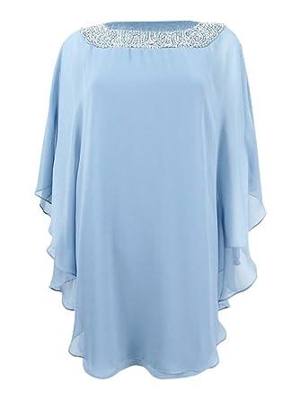 55ecc54ee68 Image Unavailable. Image not available for. Color  Xscape Women s Plus Size  Beaded Chiffon Capelet Dress ...