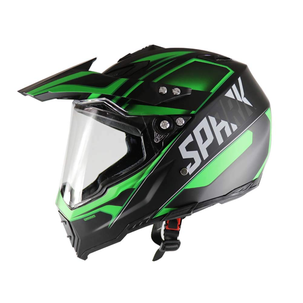MRXUE Off-Road Anti-Collision Motorbike Helmet, Full Face Helmet Off-Road Anti-Collision Helmet Kit Adult Highway Helmet Black,Green,L(59~60Cm)