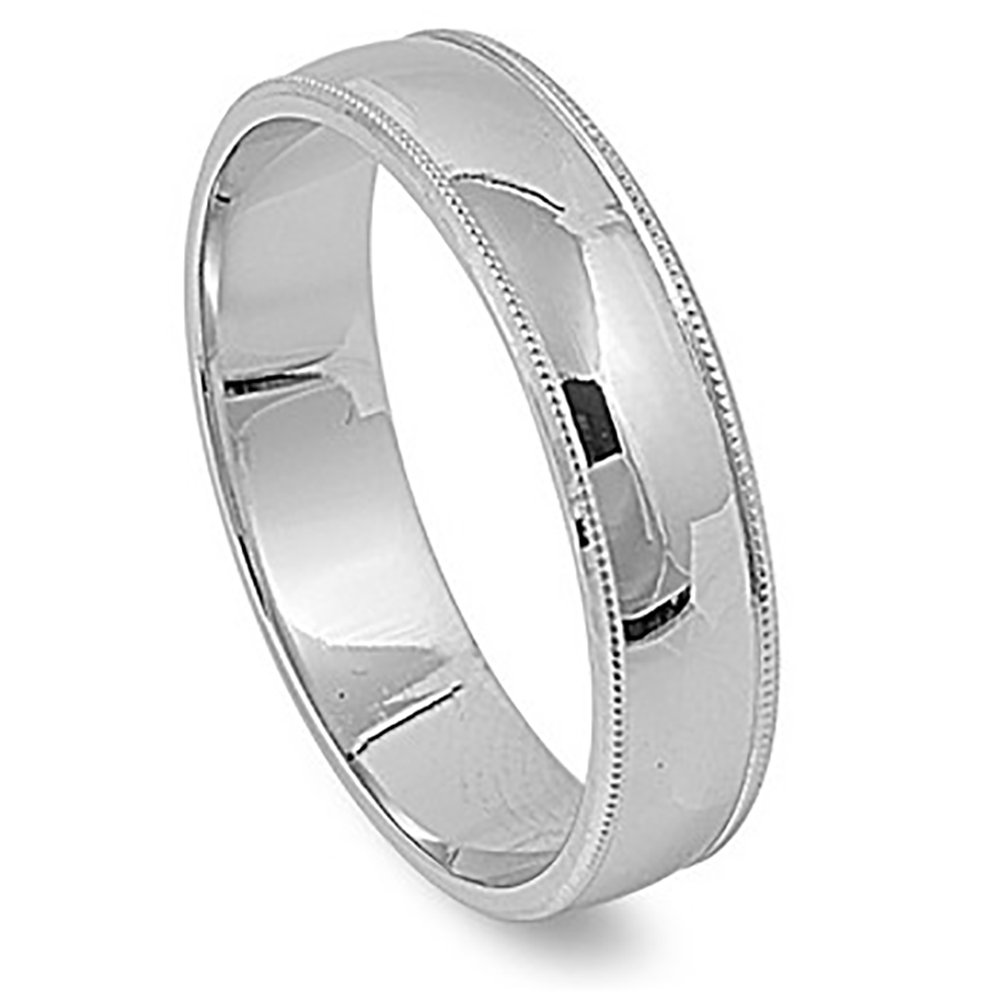 Sterling Silver Milgrain Wedding 5mm Band High Polish Comfort Fit Ring Size 8