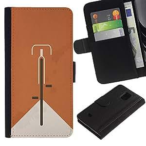 Paccase / Billetera de Cuero Caso del tirón Titular de la tarjeta Carcasa Funda para - Bicycle Orange Hipster Minimalist Alternative - Samsung Galaxy S5 Mini, SM-G800, NOT S5 REGULAR!