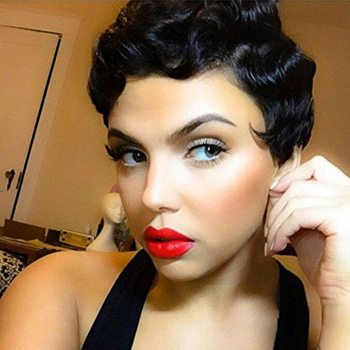 BUQI Hair Finger Wave Wig Black Short Curly Hair Nuna Wigs Synthetic Wig For Women Cute Hair