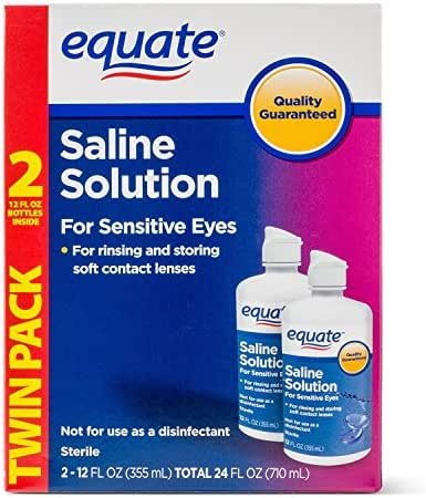 Equate Saline Solution, Contact Lens Solution for Sensitive Eyes Twin Pack 2 x 12 fl oz (2x12 Fl Oz)