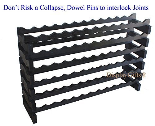 Stackable Modular Wine Rack Stackable Storage Stand Display Shelves, Wobble-Free, Pine wood, WN85 (BLACK-72 Bottle Capacity) by DisplayGifts (Image #1)