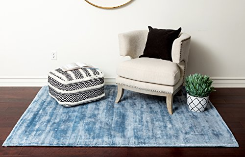 (Home Must Haves Shadow 3 Area Contemporary Modern Hand-Tufted Light Blue Solid Silk Carpet Rug for Living Room Bedroom Kitchen Hallway-5'3