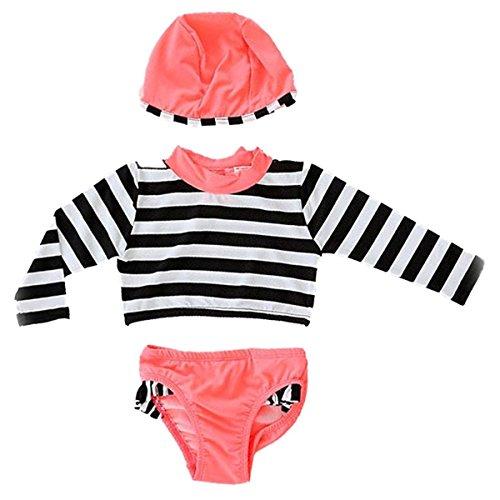 Jojobaby 3Pcs Long Sleeve Dot Print Rash Guard Sun Protection Swimsuit With Caps For Baby Girls Toddler Kids (2-3 Years, Stripe) by Jojobaby