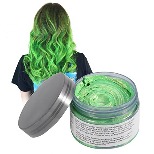 Mofajang Hair Wax Dye Styling Cream Mud, Natural Hairstyle Color Pomade, Washable Temporary, Green