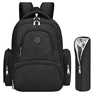 ON SALE - S-ZONE Upgraded Version Water-resistant Baby Diaper Bag Backpack with Changing Pad & Stroller Clips 7 Variations Available (Black with Insulated Sleeve)