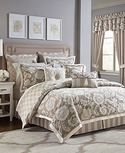 - Croscill Anessa Queen 4 Pieces Floral Jacquard Comforter Set with Latte Ground and Cream Colored accents